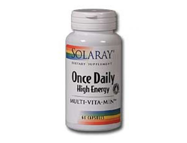 Solaray Once Daily High Energy Multi-Vitamin Iron Free 60 Caps