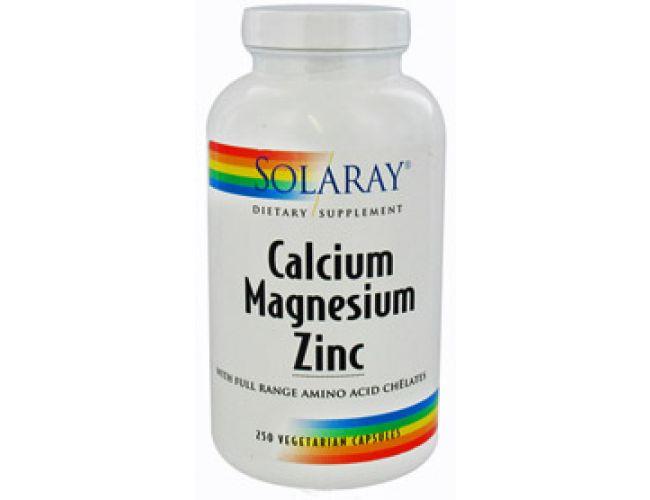 Solaray Calcium, Magnesium, Zinc 1000/500/25 250 Caps