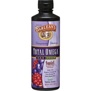 Barlean's Omega Swirl Total Omega 3-6-9 Vegan Supplement Pomegranate Blueberry 16 Fl Oz