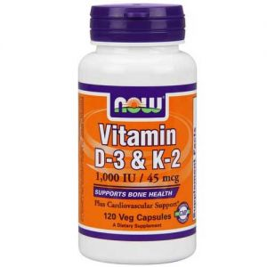 Now Foods Vit D-3 / K2 1000 IU / 45 Mcg 120 Vegetable Capsules