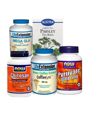 5 Fastest Fat Burners Stack(2 Green Coffee Extract, 1000mg GLA, 1000mg Calcium Pyruvate, Parsley Tea, & Chitosan)