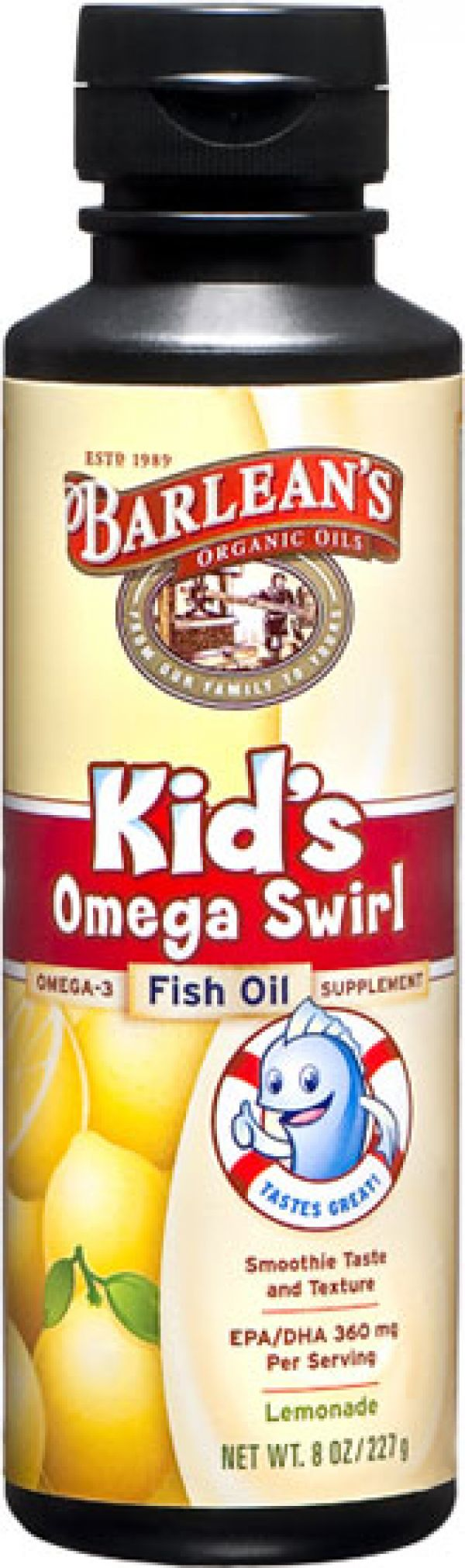 Barlean's Kid's Omega Swirl Omega-3 Fish Oil Supplement Lemonade 8 Fl Oz