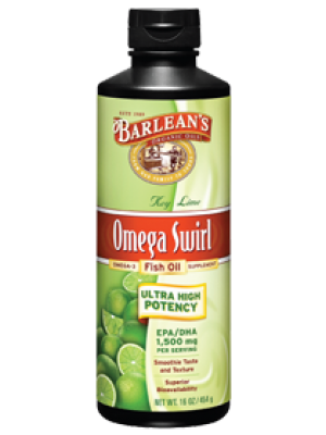 Barlean's Omega Swirl Ultra High Potency Omega-3 Fish Oil Supplement Key Lime 16 Fl Oz
