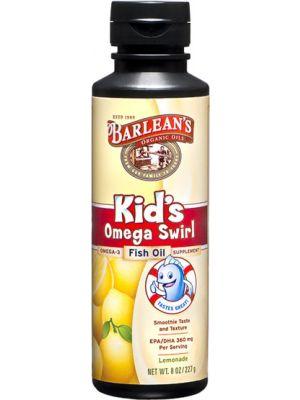 Barlean's Kid's Omega Swirl Omega-3 Fish Oil Supplement Lemonade 8 Fl Oz