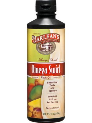 Barlean's Omega Swirl Omega-3 Fish Oil Supplement Mango Peach 16 Fl Oz