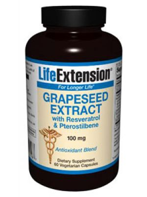 Life Extension Grapeseed Extract with Resveratrol and Pterostilbene 100 mg, 60 Vegecaps