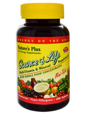 Nature's Plus Source of Life Multi Vitamin and Mineral w/ Iron and Whole Food Concentrates 180 Tabs