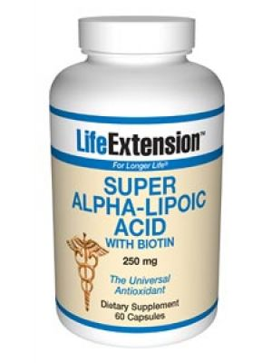 Life Extension Super Alpha Lipoic Acid with Biotin 250mg 60 Caps