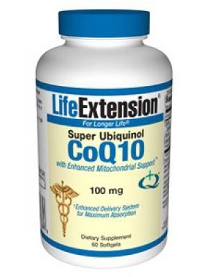 Life Extension Super Ubiquinol CoQ10 with Enhanced Mitochondrial Support 100mg, 60 Softgels