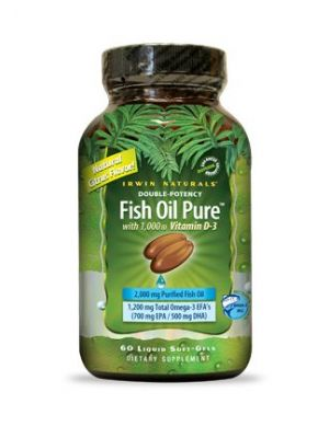 Irwin Naturals Double Potency Fish Oil Pure Natural Citrus Flavor 60 Liquid Soft-Gels