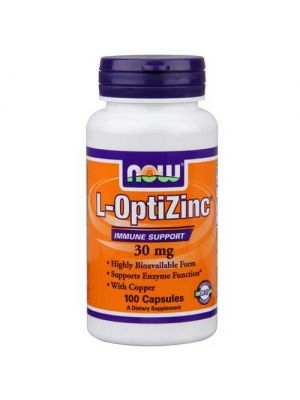 Now Foods L-Optizinc 30 Mg + Copper 100 Capsules