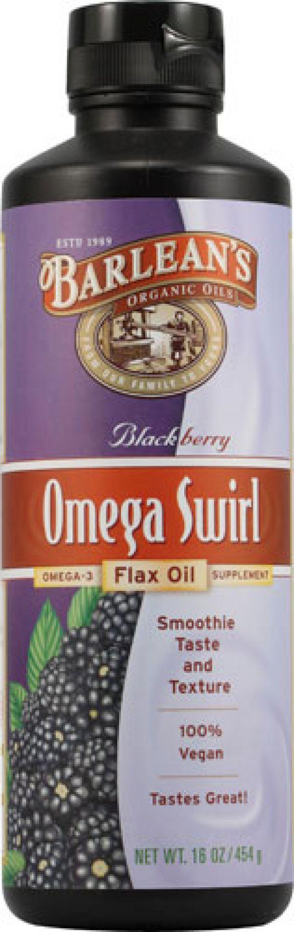 Barlean's Omega Swirl Omega-3 Flax Oil Supplement Blackberry 16 Fl Oz