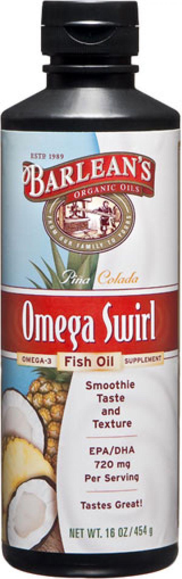 Barlean 39 s omega swirl fish oil supplement pina colada 16 fl oz for Barlean s omega swirl fish oil