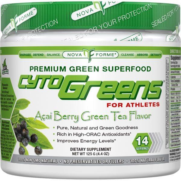 NovaForme CytoGreens For Athletes Acai Berry Green Tea 14 Servings