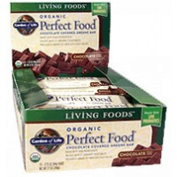 Garden of Life Organic Perfect Food Whole Food Greens Bar Chocolate 12/Box
