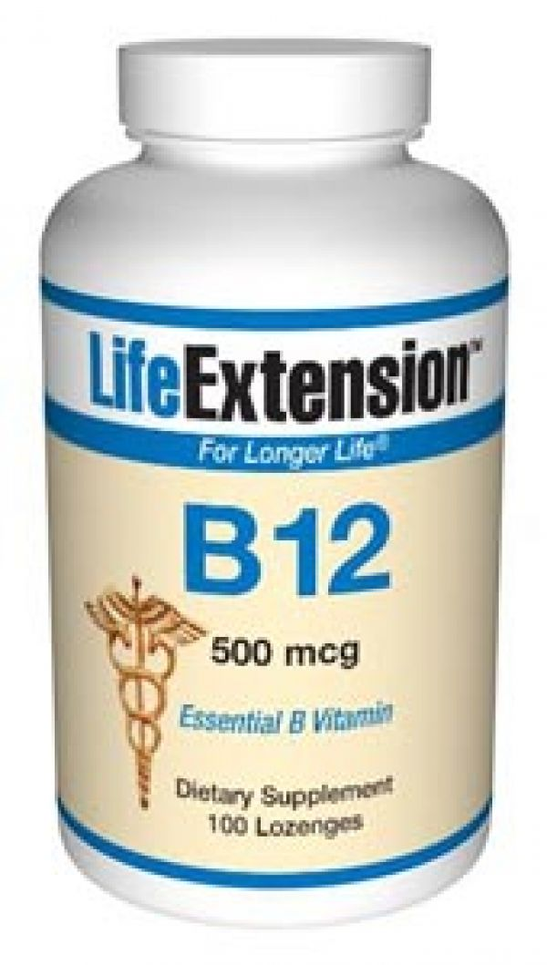 Life Extension Vitamin B12 500mcg 100 Tabs (to be dissolved in the mouth)