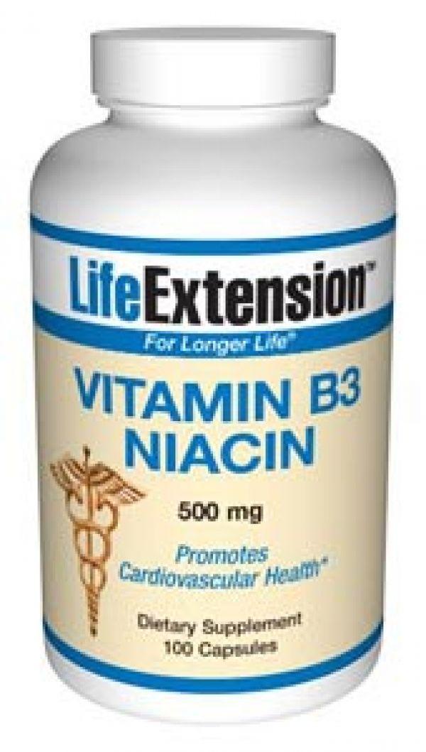 Life Extension Vitamin B3 Niacin 500mg 100 Caps