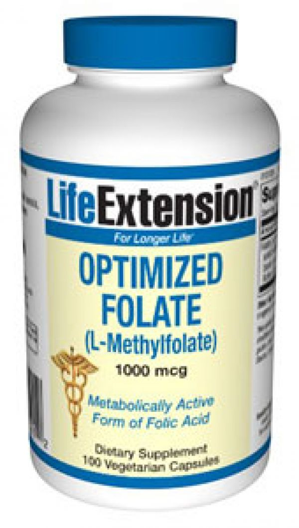 Life Extension Optimized Folate (L-Methylfolate) 1000 mcg 100 Vegecaps
