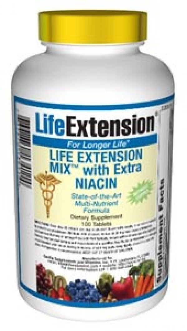 Life Extension Mix with Extra Niacin without Copper 100 Tabs