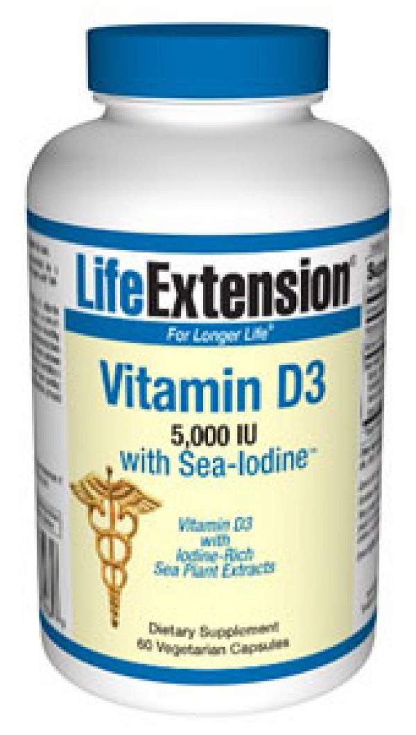 Life Extension Vitamin D3 with Sea-Iodine 5,000 IU 60 Caps