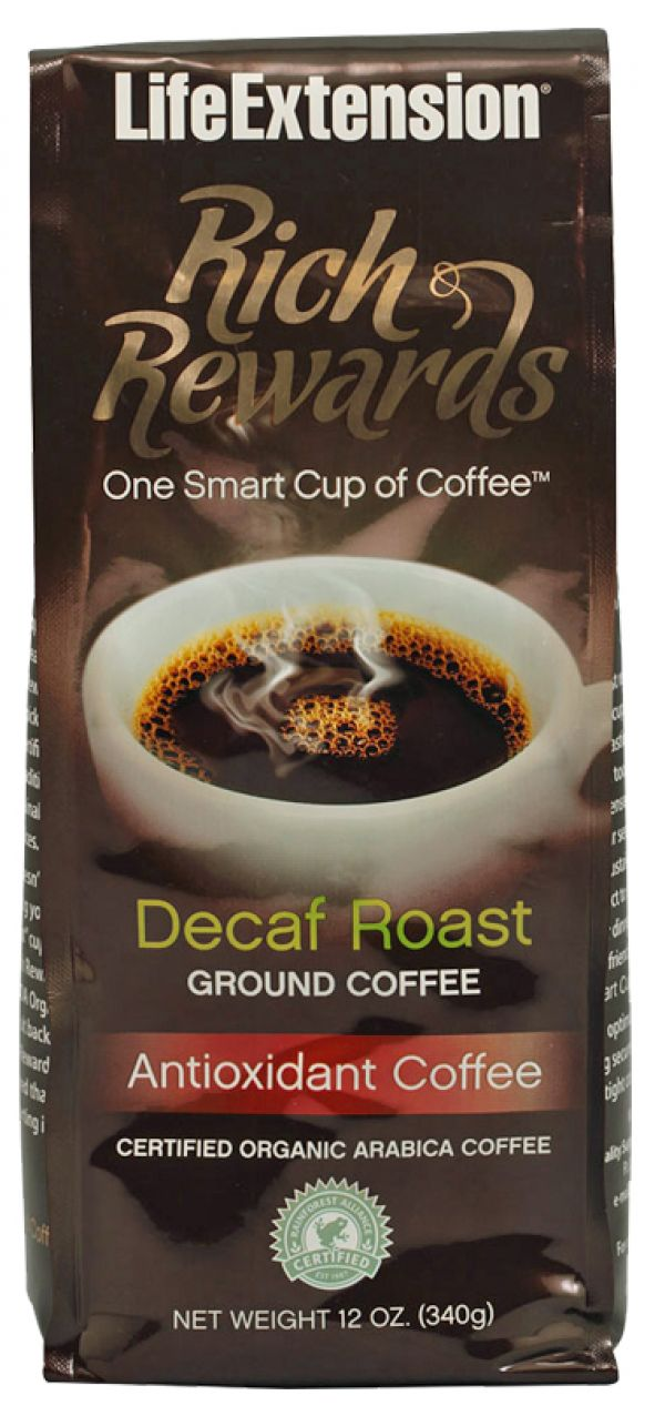Life Extension Rich Rewards Decaf Roast Ground Coffee 12 Oz