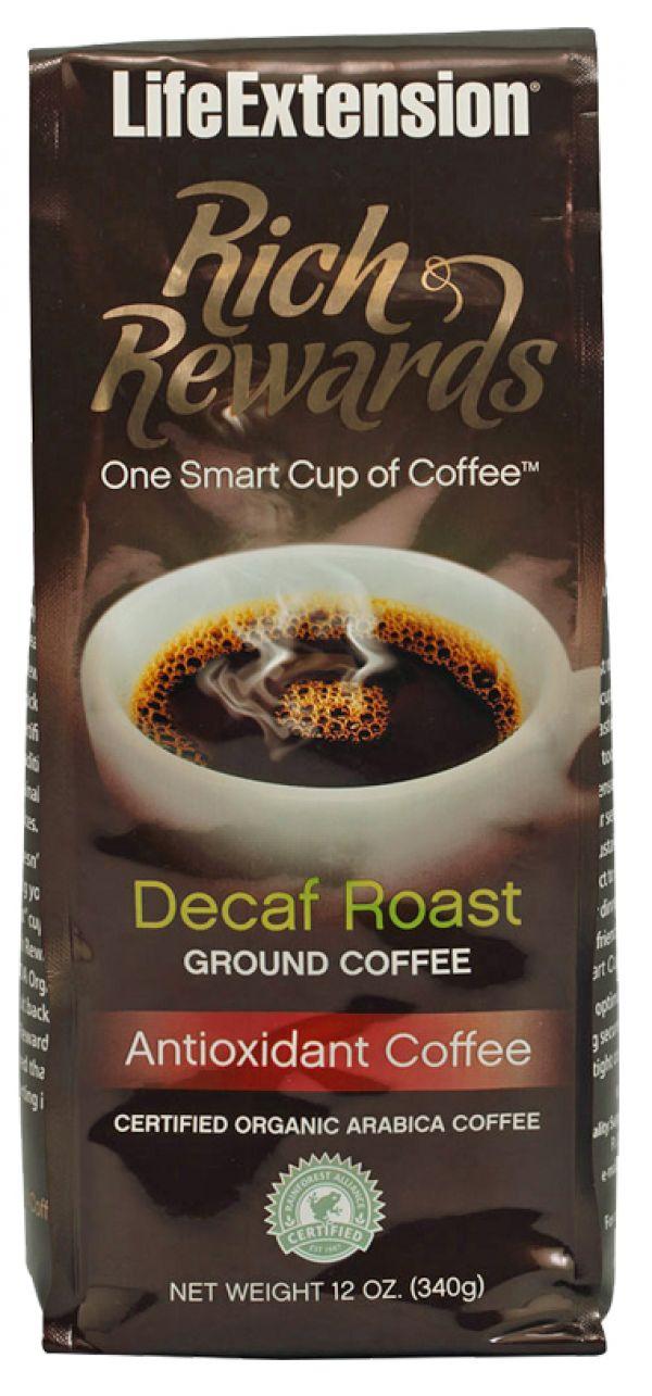 Life Extension Rich Rewards Decaf Roast Ground Coffee 12 Oz
