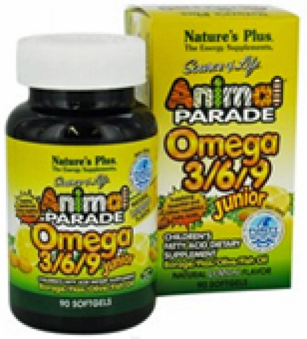 Nature's Plus Animal Parade Omega 3/6/9 Junior Lemon 90 Softgels