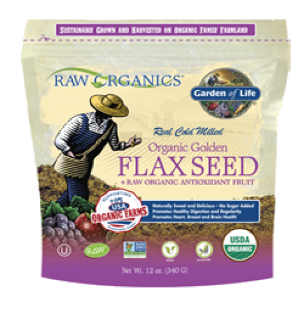Garden of Life Raw Organics Golden Flax Seed + Raw Organic Antioxidant Fruit 12 Oz