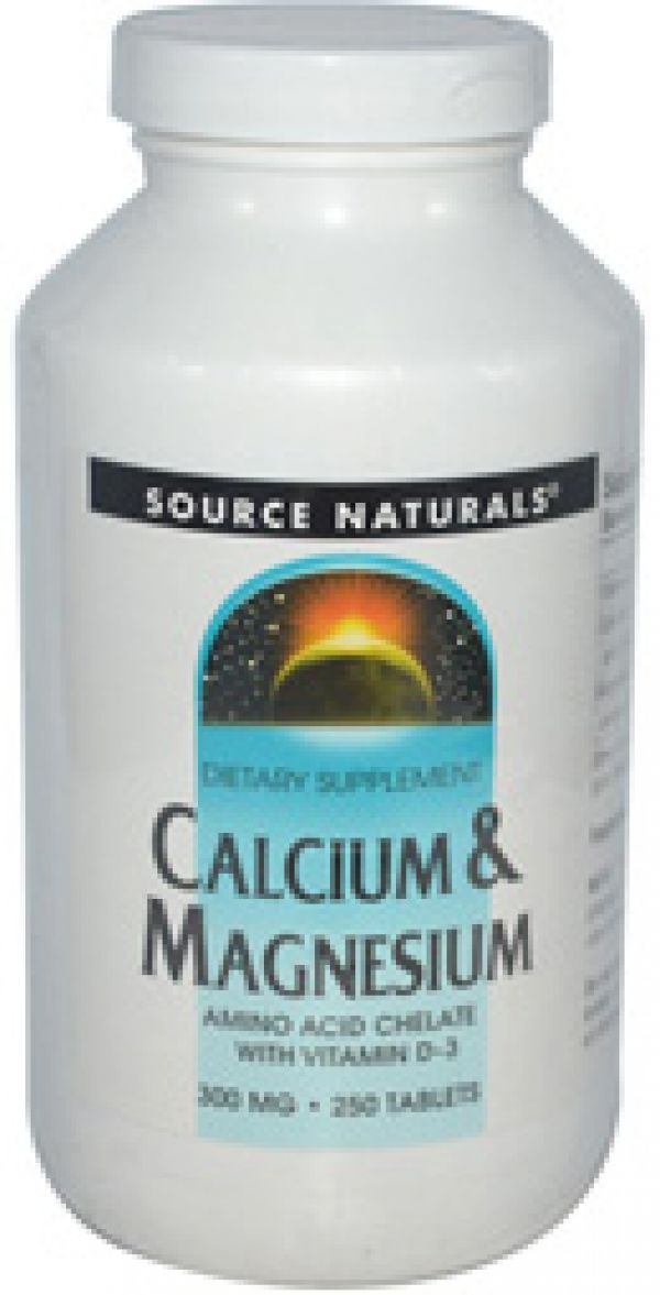 Source Naturals Calcium and Magnesium Chelate 300mg 250 Tablets