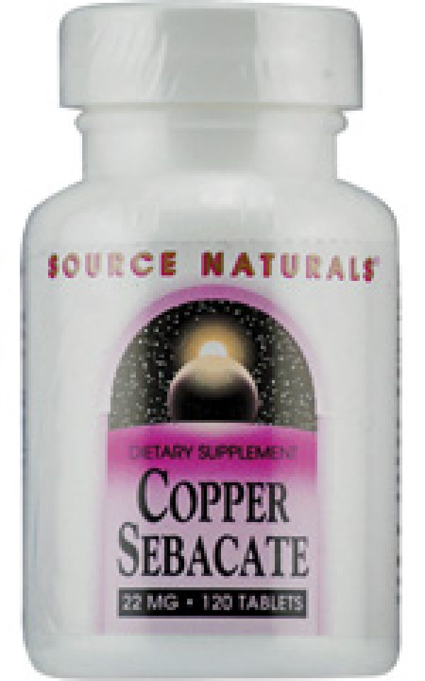 Source Naturals Copper Sebacate 22mg 120 Tablets